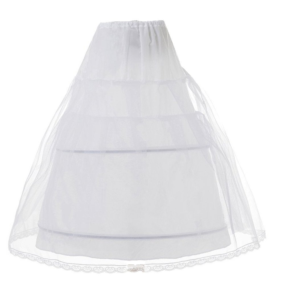 Edress Girls 3 Layers Wedding Flower Girl Petticoat Kids Underskirt Slip (White Large)
