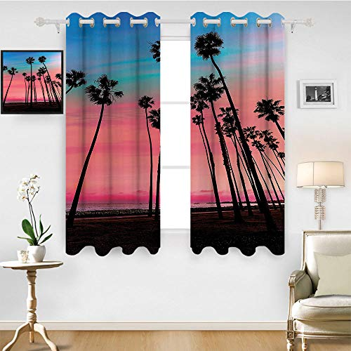 SATVSHOP Grommet Light Blocking Window Treatment for Bedroom Decor 2 Panels Set- 55W x 72L Inch-Palm Tree Tree ows in Santa Barbara USA American Holiday Dreamy Heaven Dawn Image Pink Blue.