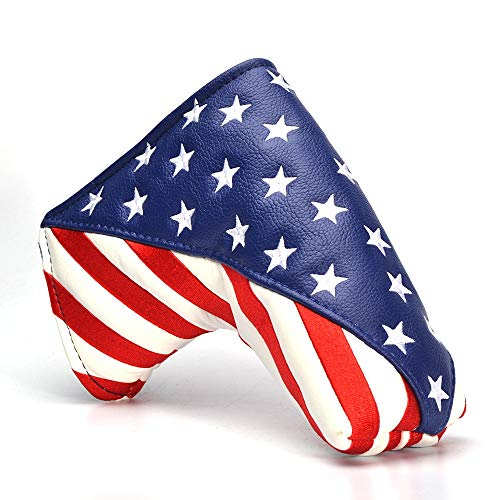 - GOOACTION Golf Blade Putter Cover Magnetic Closure Design USA Flag Stars and Stripes Pattern Putter Headcover
