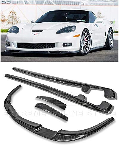 (Replacement For 2005-2013 Chevrolet Corvette C6 Wide Body Models | ZR1 Style Front Bumper Lower Lip Splitter With Side Skirts Rocker Panels Mud Flaps Pair (Carbon Fiber))