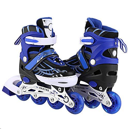 ANCHEER Kid Rollerblades Inline Adjustable Skates Girls/Boys Women Size 12J- 8 Light Up Wheels Indoor Outdoor Skating Roller Skates