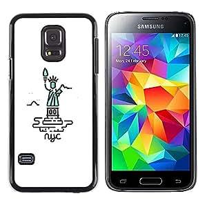 CASECO - Samsung Galaxy S5 Mini, SM-G800 - New York Liberty Statue - Delgado Negro Plástico caso cubierta Shell Armor Funda Case Cover - Nueva York Estatua de la libertad