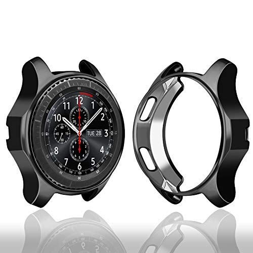 Case Compatible Samsung Gear S3 Frontier SM-R760, Oenfoto Soft TPU Plated [Scratch-Proof] All-Around Protective Bumper Shell for Samsung Gear S3 Frontier SM-R760 Smartwatch-Black