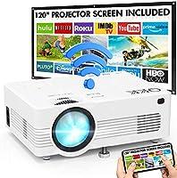 """Projecteur WiFi QKK 1080P Full HD Soutien, 120"""" Grand Écran-Projection Compris, 6000 Lumens Mini Rétroprojecteur sans Fil..."""
