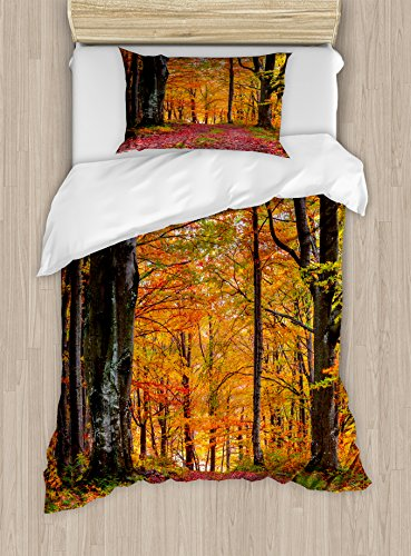 Ambesonne Autumn Duvet Cover Set Twin Size, Fall Forest with Shady Deciduous Trees and Faded Leaf Magic Woodland Theme Picture, A Decorative 2 Piece Bedding Set with 1 Pillow Sham, ()
