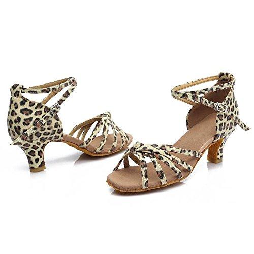 HROYL Zapatos de baile/Zapatos latinos de satén mujeres ES7-F17 5CM Leopardo