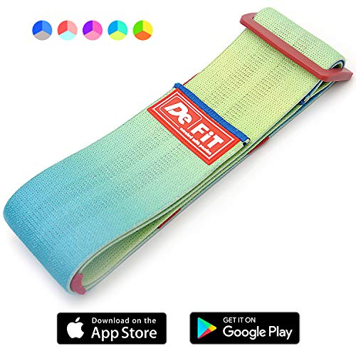 DeFiT Sale!!! Adjustable Hip Resistance Band - Hip Band (13'-17') Circle & Booty Bands - Fabric Resistance Bands - iOS/Android Prof Fitness Mobile App with Exercise eBooks, Videos & Nutrition Guides