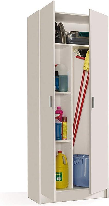 MarinelliGroup Armadio Multiuso armadietto Mobile Bagno casa Garage 2 Ante 5 Ripiani Bianco 73 X 37 X 180