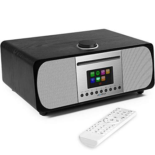 (LEMEGA M5+ All-in-One Music System (2.1Channel Stereo),CompactCD Player with Internet Radio,Bluetooth Hi-Fi Speaker, Spotify,FM Digital Tuner,Remote Control,USB, AUX-in(Black Oak))