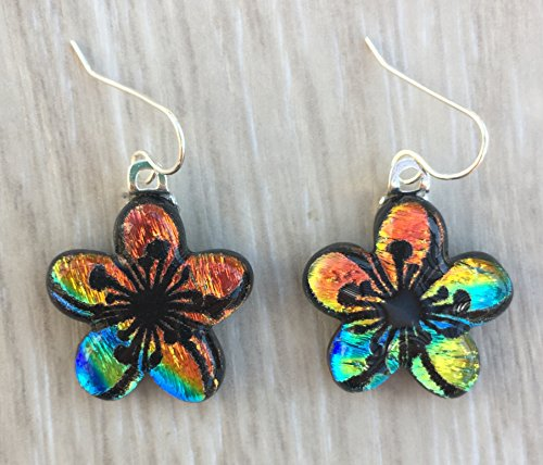 Dichroic Fused Glass Earrings - Orange Yellow Blue Plumeria Flower Laser Engraved Etched Earrings with Solid Sterling Silver Ear Wires