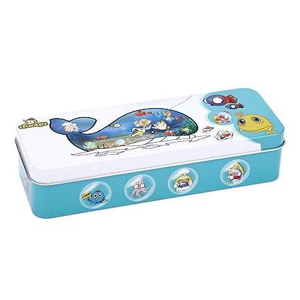 Fdit Juego de Pesca de Madera, Juguetes para niños, Peces magnéticos, Caja de Lata educativa para niños, niñas, 14 Peces, 2 cañas de Pesca