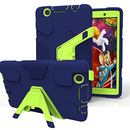 LG G Pad 3 8.0 /G Pad X 8.0 Case, Asstar 4 in 1 Hybrid Shockproof Impact Resistant Armor Kickstand Defender Protection Case for LG G Pad X 8.0 V521 / G Pad 3 8.0 V525 Tablet 2016 (navy green) - Kickstand Black Gloss