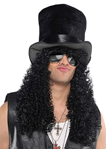 1980s Slash Style Curly Black Wig with Hat