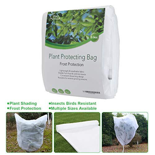 PHI VILLA Plant Cover for Winter, Thick Plant Protector Bags Frost Blanket, 0.9 oz, 72″ x 72″