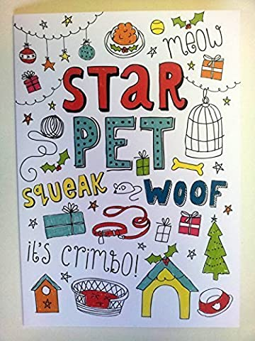 'STAR PET - IT'S CRIMBO!' Cute Christmas card Dog Cat Hamster Gerbil Guinea Pig.