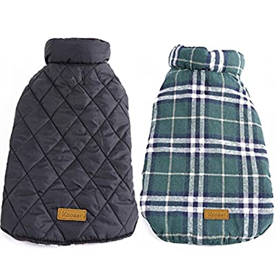 Kuoser Cozy Waterproof Windproof Reversible British Style Plaid Dog Vest Winter Coat Warm Dog Apparel Cold Weather Dog Jacket XXS-4XL