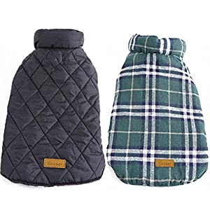 Kuoser Cozy Waterproof Windproof Reversible British style Plaid Dog Vest Winter Coat Warm Dog Apparel for Cold Weather Dog Jacket for Small Medium Large dogs with Furry Collar (XS - 3XL),Green XS