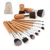 ArRord 11pcs Professional Makeup Cosmetic Brush Set Foundation Powder Bamboo Brush with Bag