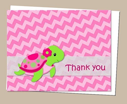 Pink Turtle Thank You Cards and Envelops (Set of 12) - Baby Shower or Birthday (Turtle Baby Shower Decorations)