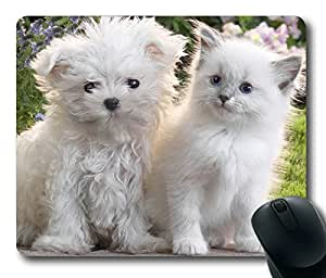Cute Puppy Dog And Cat Masterpiece Limited Design Oblong Mouse Pad by Cases & Mousepads by runtopwell