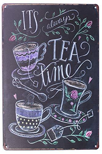 (Sumik It's Always Tea Time, Metal Tin Sign, Vintage Art Poster Plaque Kitchen Home Wall Decor)