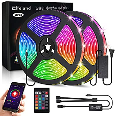 Elfeland LED Strip Lights Work with Alexa Google Assistant 32.8FT/10M 300 LEDs SMD5050 Dreamcolor Strip Lights Wireless Phone APP Controlled Rope Light Waterproof Flexible Tape Light Kit