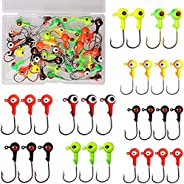 Jig Head Hooks with Double Eyes Ball Head Sharp Fishing Hooks with Tackle Box Weight 0.9g/1.8g/3.5g/6.8g/10g f