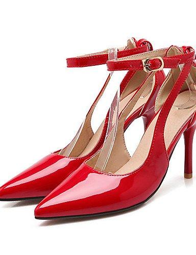 GGX/ Damen-High Heels-Lässig-Kunststoff-Stöckelabsatz-Absätze / Spitzschuh / Geschlossene Zehe-Schwarz / Rot red-us7.5 / eu38 / uk5.5 / cn38