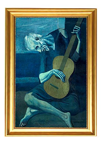 Eliteart-The Old Guitarist by Pablo Picasso Oil Painting Reproduction Giclee Wall Art Canvas Prints-Framed Size:19
