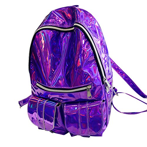 Mily Hologram Laser PU Backpack Purple