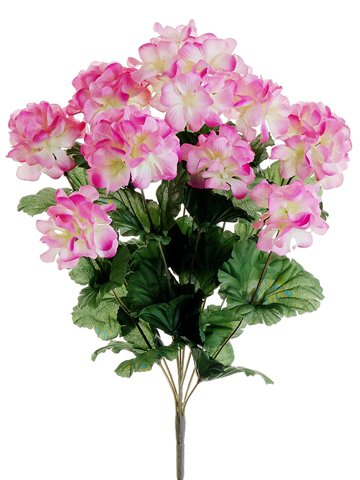 "17"" Silk Geranium Flower Bush -Pink (case of 12)"
