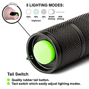 UYUTERA Super Bright Handheld Tactical Flashlight - Portable LED Heavy Duty Water Resistant Zoomable Flashlight - 5 Light Modes - Led Lights - Best Tools for Hiking Hunting Fishing and Camping edc by