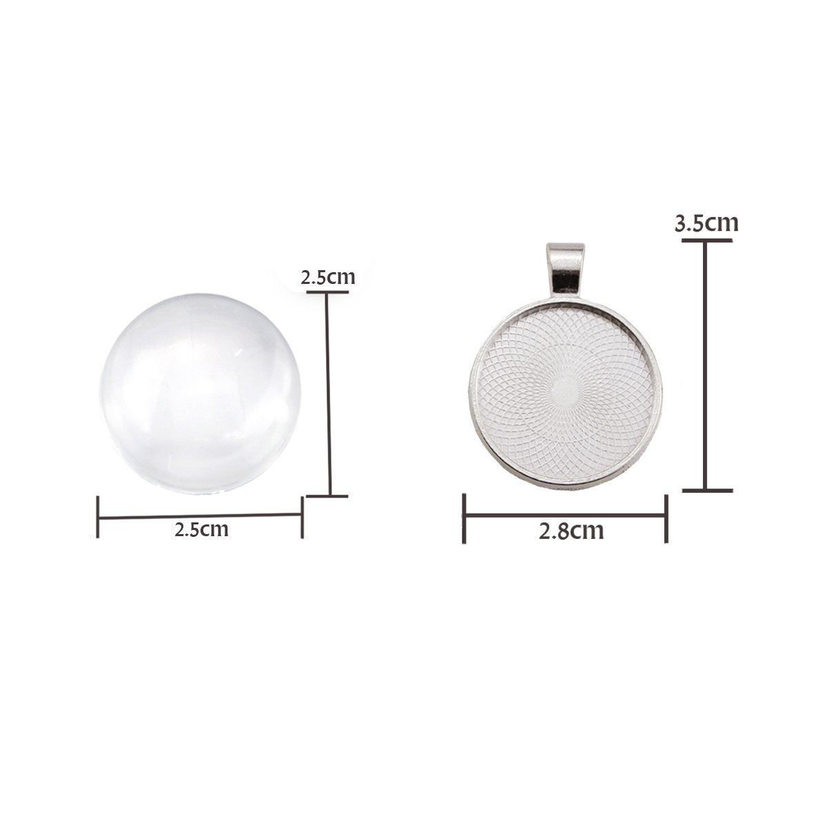 Non-calibrated Round for Photo Pendant Craft Jewelry Making Silver, 30mm Oopsu 40 Pieces Transparent Glass cabochons with 40 Silver Pendant Trays Clear Glass Dome cabochon