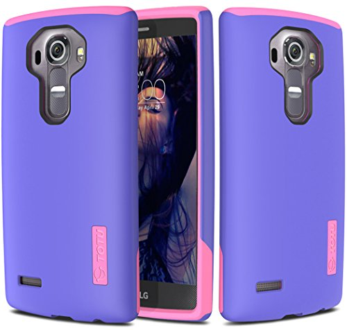 LG G4 Case, TOTU G4 Case [Durable Series] Protective Grip Cover [Drop Protection] Tough Hard Shock-Resistant Hybrid Cover Dual Layer Armor Defender Case for LG G4 - BlueViolet/Rose
