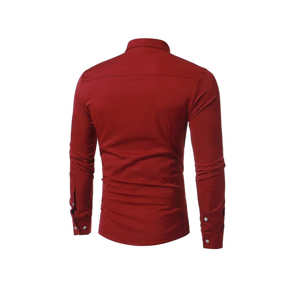 Catheive Men/'s Formal Solid Long Sleeve Button Down Tuxedo Dress Shirt