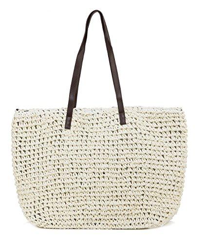 ilishop Women's Classic Straw Summer Beach Sea Shoulder Bag Handbag Tote (White)