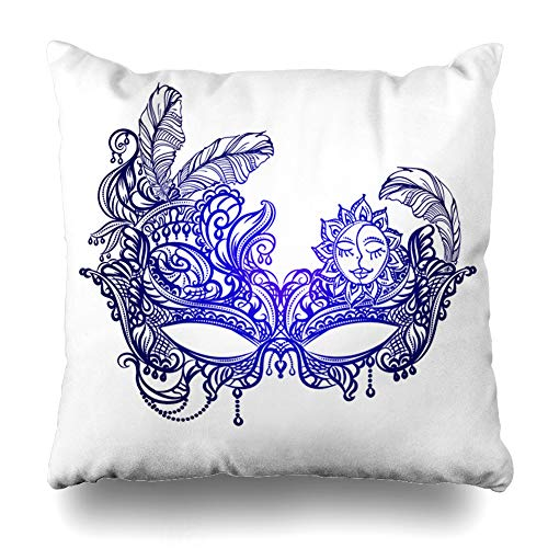 Pandarllin Throw Pillow Cover Ornate Mardi Face Masks Boho Gras Venice Vintage Masquerade Orleans Chic Lace Abstract Cushion Case Home Decor Design Square Size 18 x 18 Inches Pillowcase
