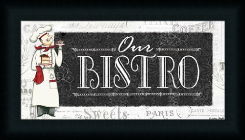 Our Bistro by Sydney Wright French Waiter Sign 21x12 Framed Art Print (Bistro Framed)
