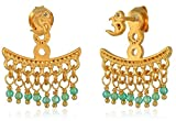 Satya Jewelry Classics Green Quartz and White Topaz Gold Plate Om Earrings Jacket
