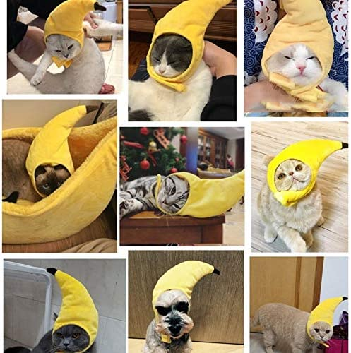 Bigherdez Cute Pet Hat Banana Shape Headgear Pet Hat for Small Dog and cat Festival Funny Headgear Outfit Clothing