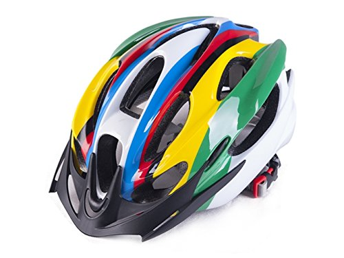 Yunqir Men Women Porous Ventilation Mountain Bicycle Helmet One-Piece Bike Helmet(Colorful) by Yunqir