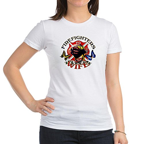 Royal Lion Jr. Jersey T-Shirt Firefighters Wife Butterflies - White, Large