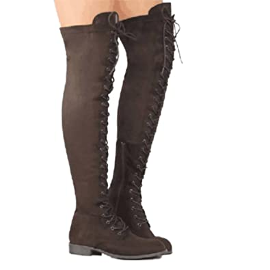 dbf9890150fd Inornever Women s Over The Knee Pull On Boots Thigh High Low Heel Faux  Suede Lace Up