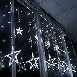 Home Garden Decor Best Deals - Curtain String Lights, KEEDA 8 Modes 138 LEDs Smart Fairy Star Window Decor Lighting for Christmas, Party, Wedding, Patio, Garden, Home Indoor (White)