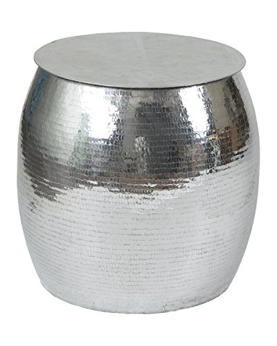 East At Main Butler Silver Aluminum Accent Table, (18x18x18)