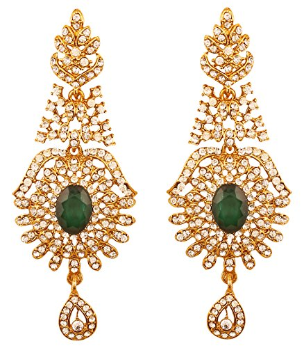 Touchstone Indian Bollywood Rhinestone/faux green emerald designer jewelry earrings for women in antique gold tone