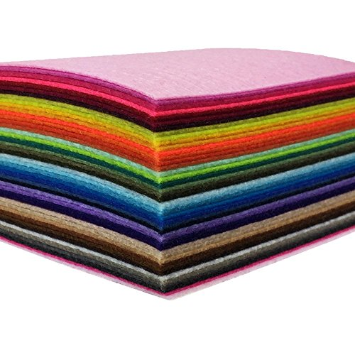 flic-flac 44PCS 4 x 4 inches (10 x10cm) Assorted Color Felt Fabric Sheets Patchwork Sewing DIY Craft 1mm Thick -