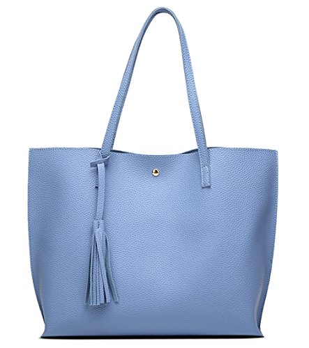 - Women's Soft Leather Tote Shoulder Bag from Dreubea, Big Capacity Tassel Handbag Blue
