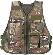 Kids Tactical Vest Breathable Adjustable Waistcoat for Outdoor Hunting Combat Games