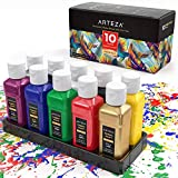 ARTEZA Permanent Fabric & Textile Paint, Set of 10 (60 ml) Individual Bottles, Vibrant Colors, Washer & Dryer Safe, for T-Shirts, Jeans, DIY Projects, Paper & Canvas: more info